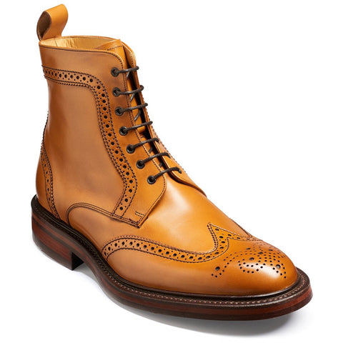 Barker Stunning Calder TAN Wing Cap Brogue Boot with Dainite Sole