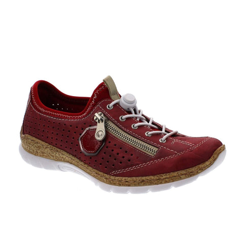 Rieker Ladies N4296-35 RED Lace up Trainer Shoes