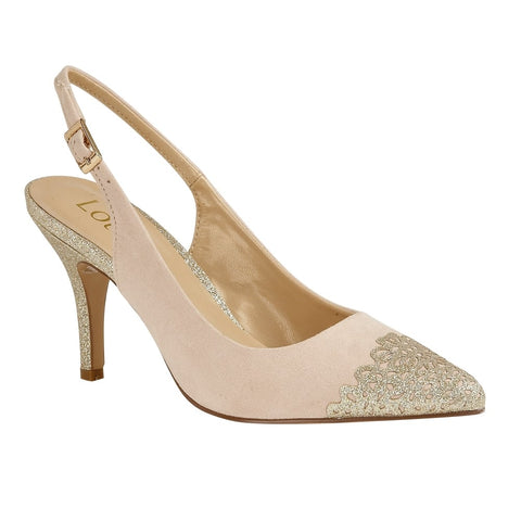 Lotus 50796 Natural and Gold Glitz Arlind Sling-Back Court Shoes