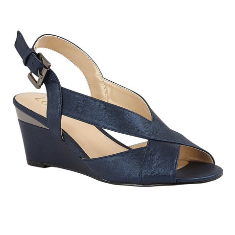 Loyus Dominica NAVY Sling Back Wedge Sandals uls179