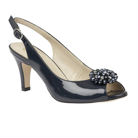 Lotus Ladies Navy Elodie Patent Sling-Back Shoes