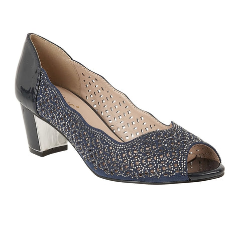 Lotus 50895 Attica Navy Patent & Diamante Attica Open-Toe Shoes
