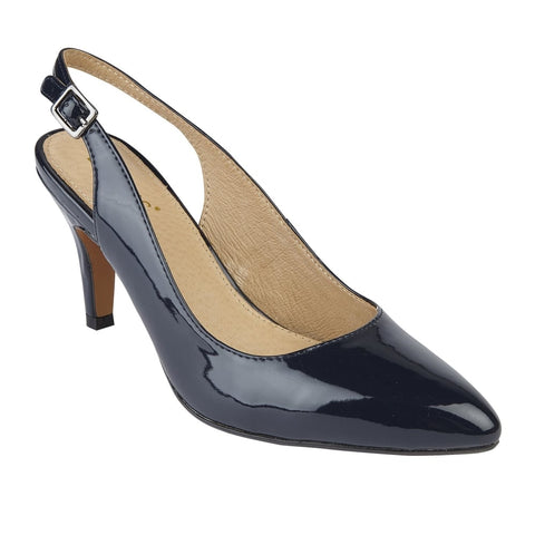 Lotus 50592 Navy Patent Nadia Sling-Back Shoe