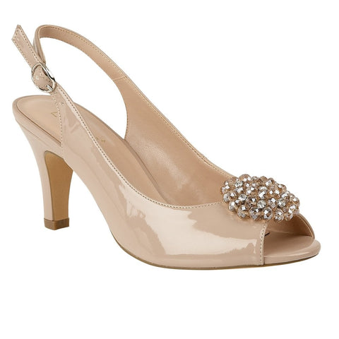 Lotus Ladies Nude Elodie Patent Sling-Back Shoes