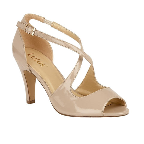 Lotus Ladies Nude Patent Rosalie Strappy Shoes
