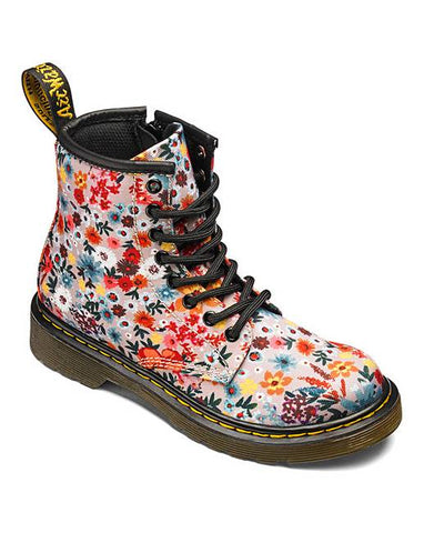 DR MARTENS 1460Y Taupe WANDERFLORA 8 eyelet BOOTS
