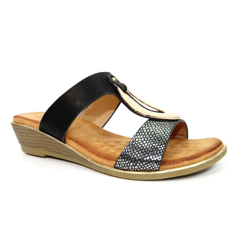 Lunar Pennita BLACK JLH145 Low wedge Mule Sandal