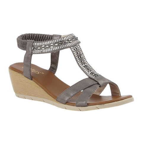Lotus Bindi PEWTER Diamonte Wedge Sandal