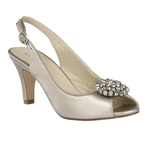 Lotus Ladies Pewter Metallic Elodie Sling-Back Shoe