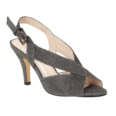 Lotus 50884 Pewter Textile Endive Open-Toe Sling-Back Shoes