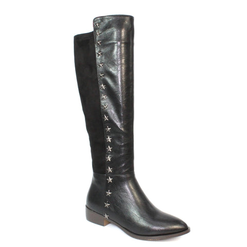 Lunar Pina BLACK faux leather long leg boot