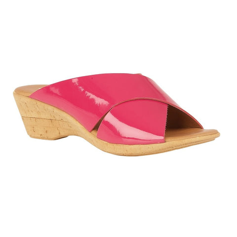 Lotus Pink Tonia Patent Mule Wedge Sandals