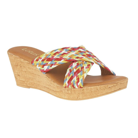 Lotus Ladies Rainbow-Multi Jacinta Mule Wedge Sandals