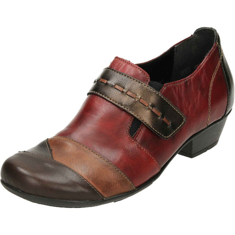 REMONTE D7304-35 Leather Low Heel Trouser Shoes Red Brown