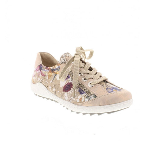 Remonte R1402-33 ROSE GOLD floral lace up with zip