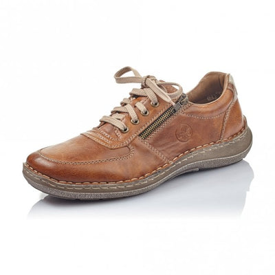 Rieker Men's Casual shoe with Lace and Zip 03030-25 Tan