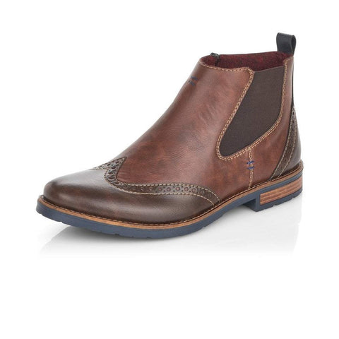 RIEKER 34660-25 BROWN ZIP UP ANKLE BOOTS