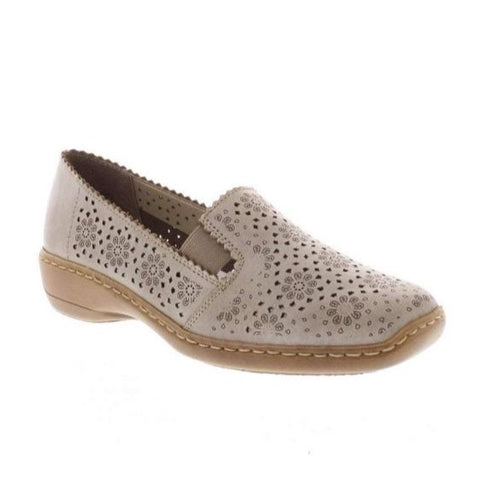 RIEKER 413Q5-62 LADIES BEIGE SLIP ON SHOES