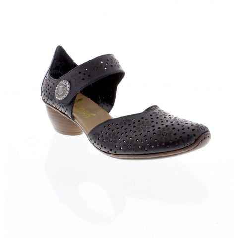 RIEKER 43711-00 LADIES BLACK Bar Shoes