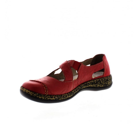 Rieker 46335-33 Ladies Red Leather Summer Shoes