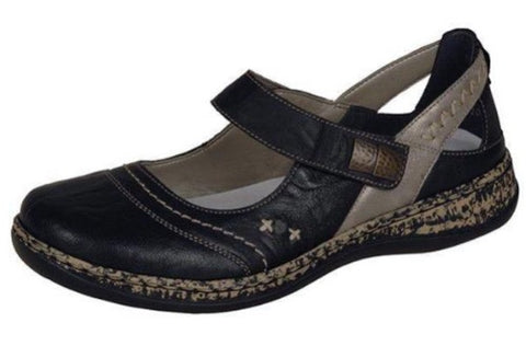 Rieker Ladies 46378-00 BLACK Bar Shoe