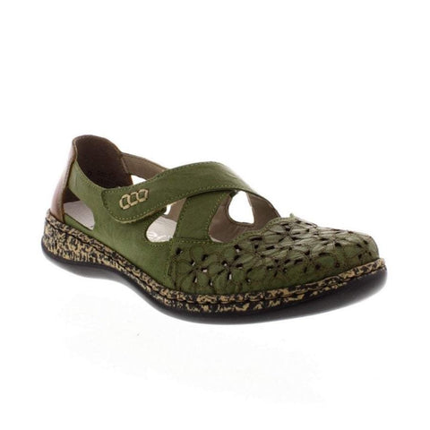 Rieker Ladies 463H4-52 Green Leather Shoe