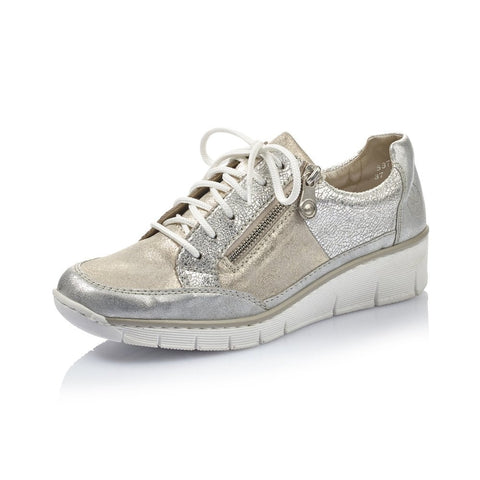 RIEKER 53716-80 LADIES SILVER AND GOLD COMBINATION CASUAL SHOES