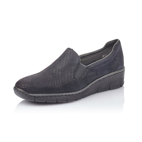 Rieker  53766-18 Dark Blue Slip On Shoe
