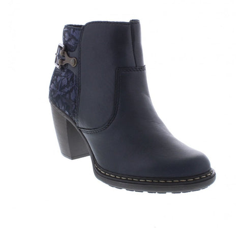 Rieker 55292-14 Navy Blue Zip Ankle Boot with Paisley trim