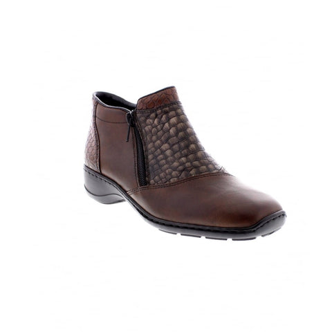 RIEKER 58359-25 LADIES BROWN ZIP ANKLE BOOTS