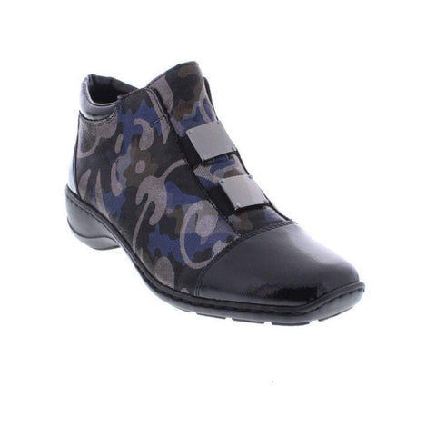 Rieker  ankle boot 58398-00 Black Blue Silver pattern