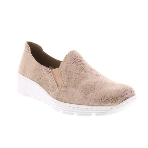 RIEKER 587B0-62 LADIES BEIGE COMBINATION SLIP ON SHOES