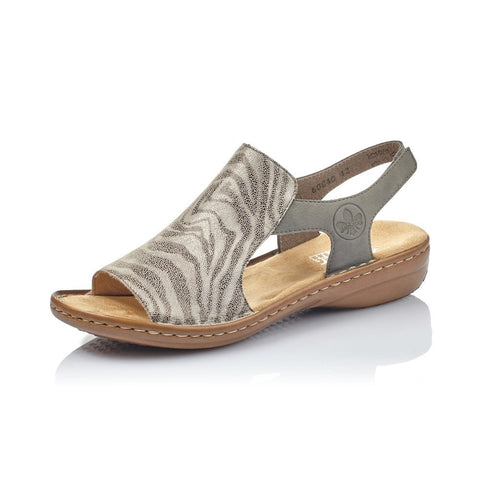 RIEKER 60840-42 GREY ANIMAL PRINT SLING BACK SANDALS Touch FASTENING Straps
