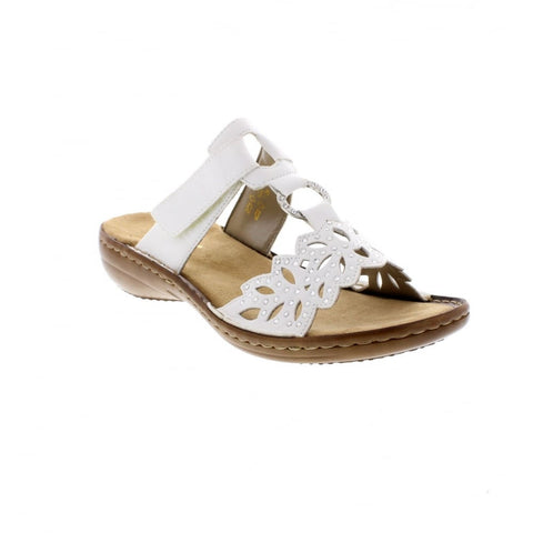 Ladies Rieker 608A6-80 Mule Sandal in White