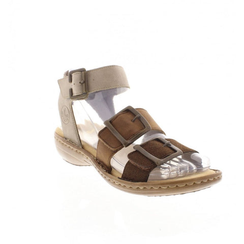 RIEKER Ladies 608C3-25 FASTNER BROWN COMBINATION SANDALS