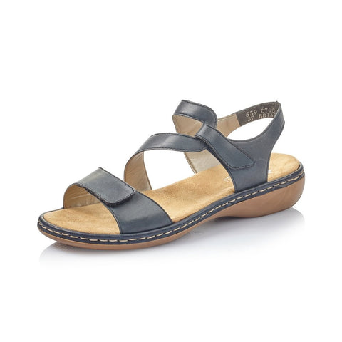 RIEKER 659C7-15 LADIES DARK BLUE SANDALS WITH Touch FASTENING STRAPS