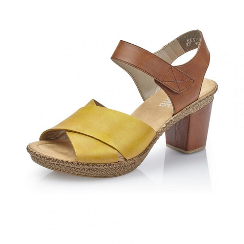 RIEKER Ladies 665H1-68 FASTNER YELLOW COMBINATION SANDALS
