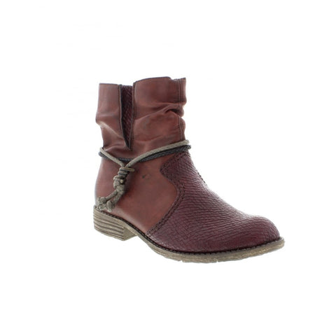 Ladies Rieker Ankle Boot 74779-35 RED COMBINATION