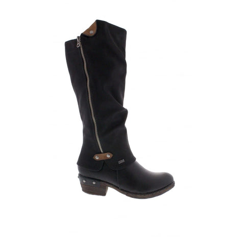 RIEKER 93655-00 LADIES BLACK ZIP BOOTS
