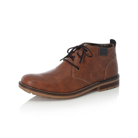RIEKER B1340-22 MEN'S BROWN LACE UP ANKLE BOOTS
