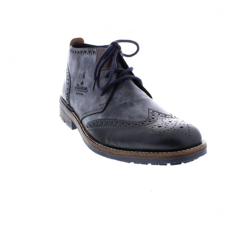 Rieker Mens  B1343-14 Blue combination brogue ankle boot