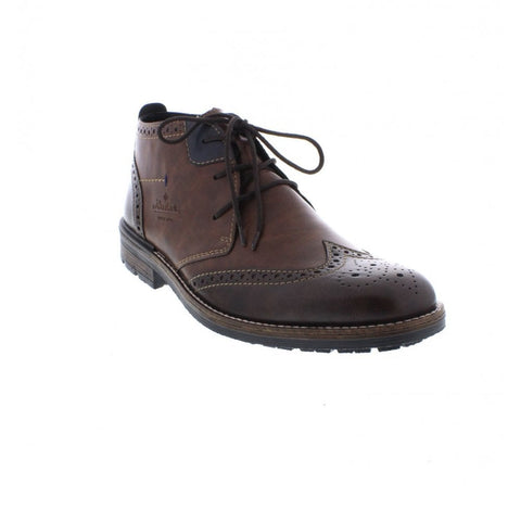 RIEKER B1343-25 MEN'S BROWN LACE UP ANKLE BOOTS