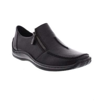 Rieker Ladies  Slip on Shoe with zip BLACK L1780-35