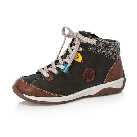 Rieker Ankle Boot with laces and zip L5222-24 Green Multi