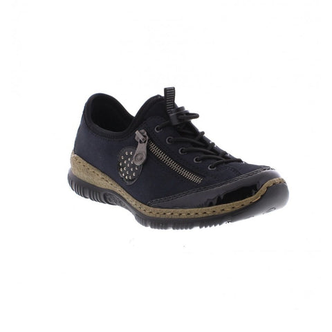 Rieker Ladies  N3268-01 Blu Combination Casual Shoe