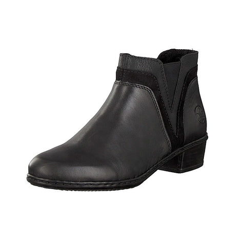 Rieker Ladies Y07b2 BLACK Zip Ankle Boot
