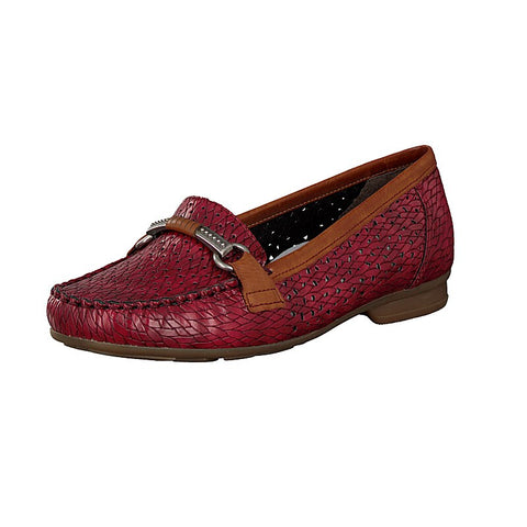 Rieker  40055-35 Wine Moccasin Slip On Shoe