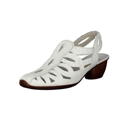 Rieker Ladies 43779-81 White Slingback Leather Shoe