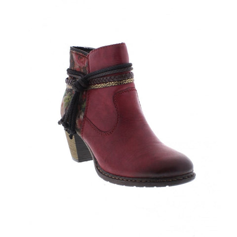 RIEKER Z1580-35 LADIES RED COMBINATION BOOTS