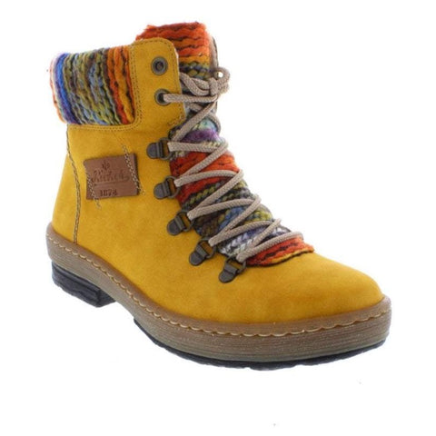 Rieker z6743 Hiker style lace and Zip ankle boot in mustard
